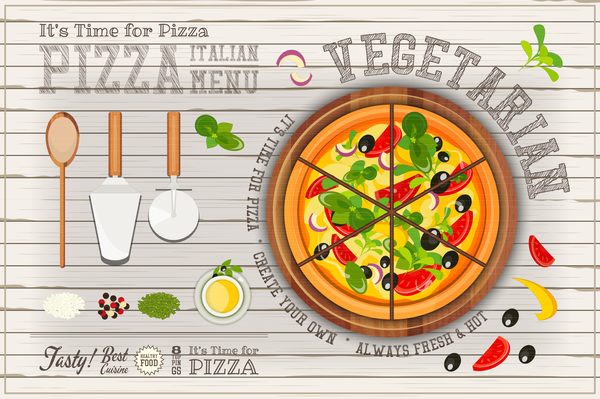 weiß pizza menu Italienisch Holz