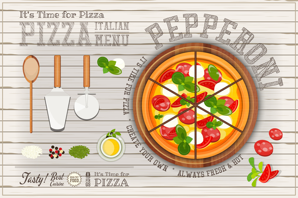 pizza menu Italien en bois blanc