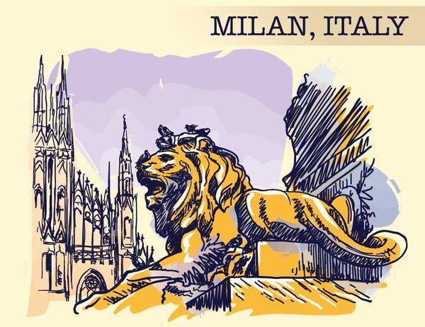 、イタリア、ミラノ、スケッチ