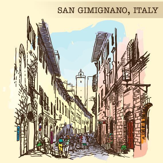 Skizze san Italien gimignano gemalt