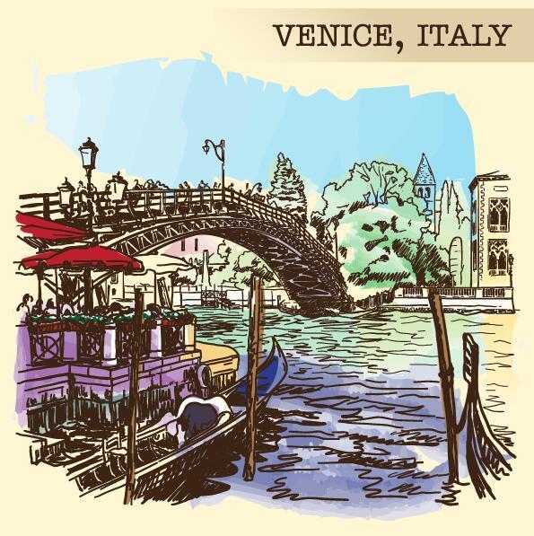 Venedig skiss målade Italien