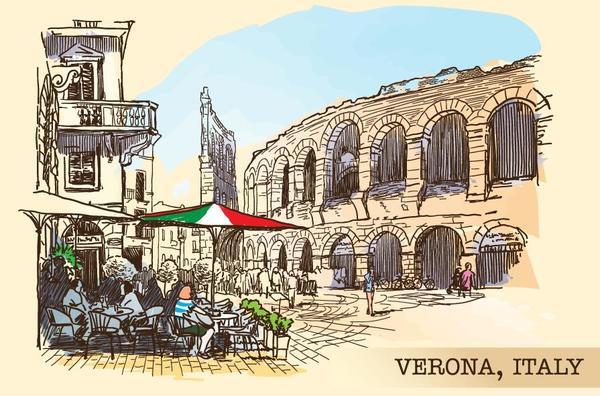 Vérone sketch peint Italie