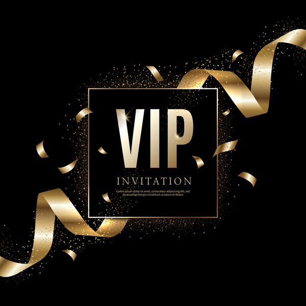 vip noir luxe invitation golden carte