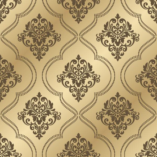 高級 パターン ゴールデン seampes 、ダマスク織