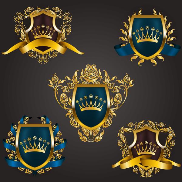、紋章、ラベル、高級、シールド