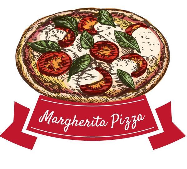 、手描き、マルゲリータ ピザ