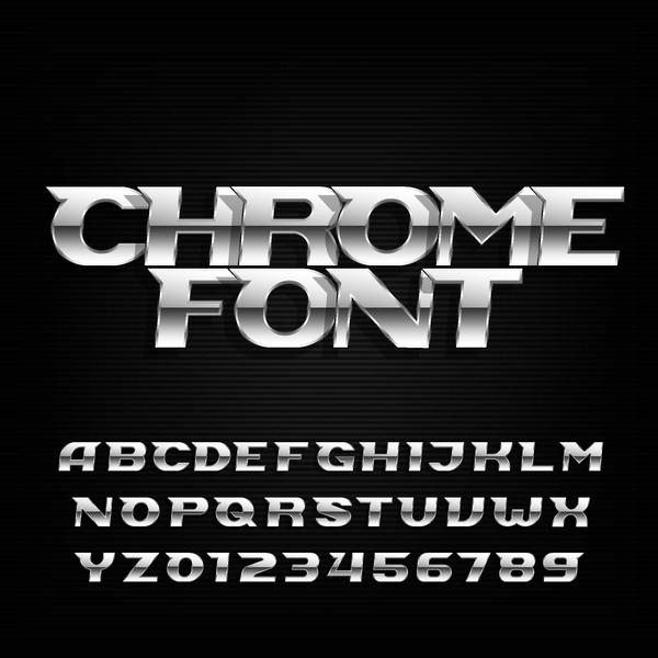 siffror Metall Chrome Alfabetet