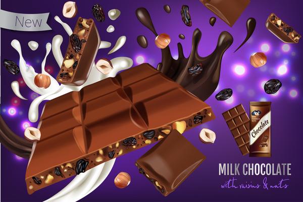 Schokolade Rosinen poster Nüsse Milch
