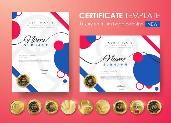 Zertifikat moderne golden Abzeichen