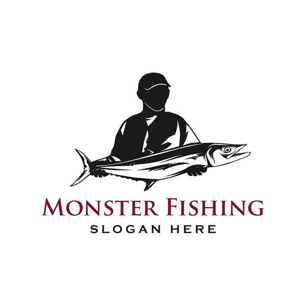 、釣り、ロゴ、モンスター