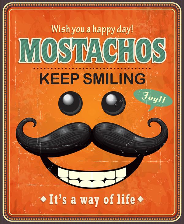 poster Mostach Lächeln Halten