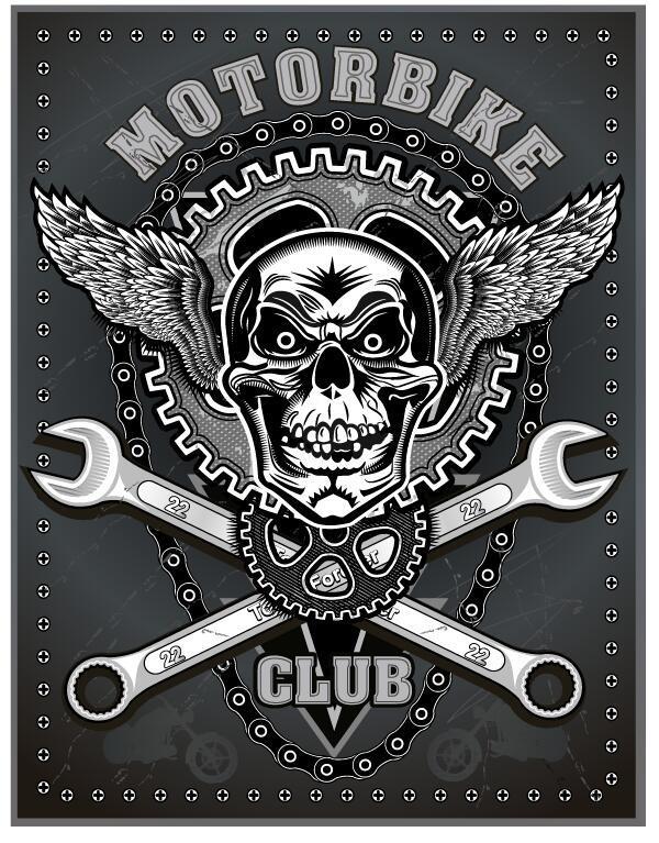 、クラブ、オートバイ、署名
