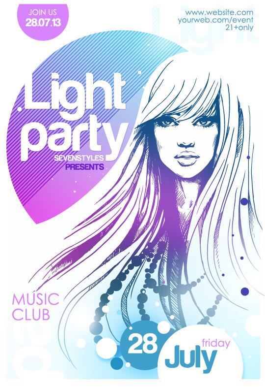 音楽 ポスター パーティー 、クラブ、光