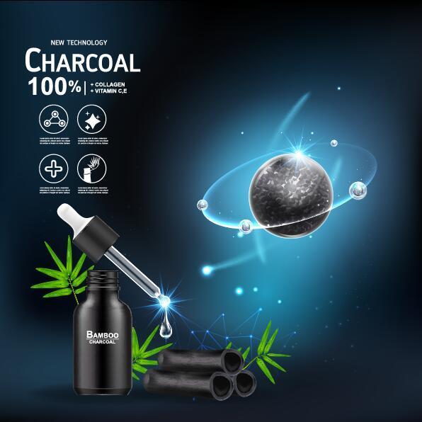 tech poster nouveau cosmétiques charbon de bois