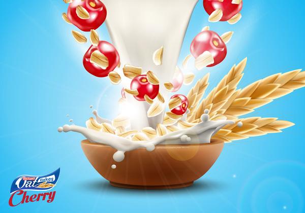 Werbung splash poster Milch Kirsche Hafer Flakes