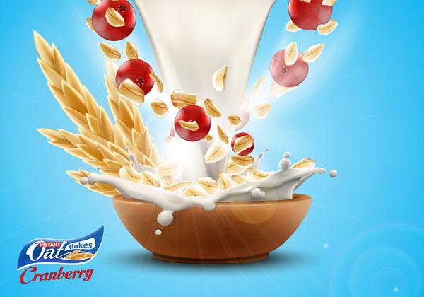splash Publicité poster lait flocons cerise avoine