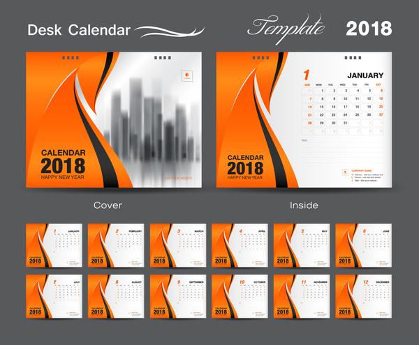 täcka skrivbord orange Kalender for ar 2018