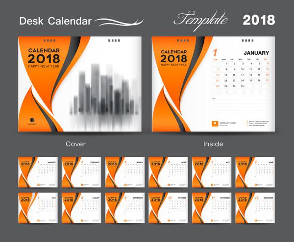 、2018 年のカレンダー、カバー、デスク、オレンジ、の年