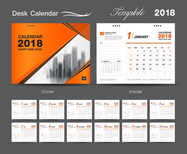 Schreibtisch orange Kalender Jahr fur decken 2018