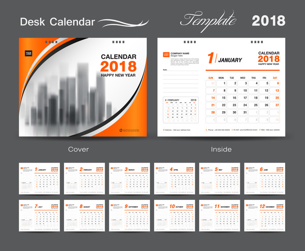 Reception per orange coprire calendario anno 2018