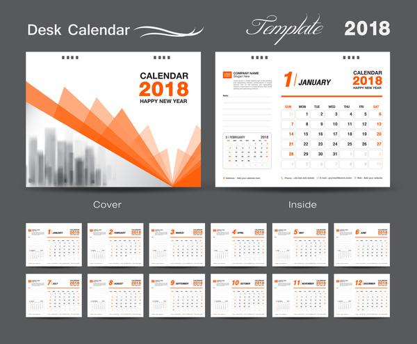 pour orange desk couvrir calendar An 2018