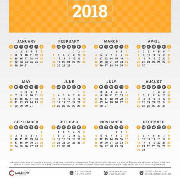 、2018 年のカレンダー、会社、フラット、オレンジ