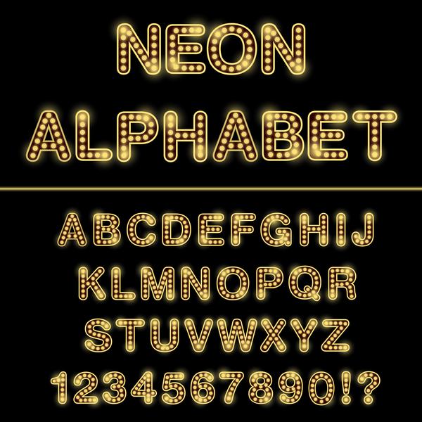 orange numero luce al neon Alfabeto