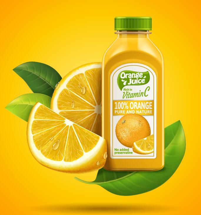 Verpackung Saft reiner orange Natur Flaschen