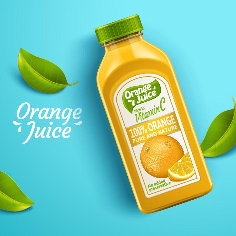 ren orange Natur juice förpackning flaskor