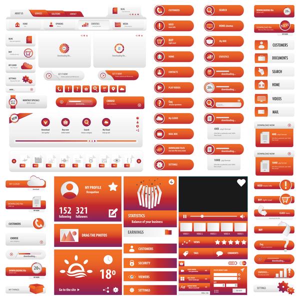 user red orange interface button