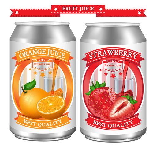 、ジュース、ラベル、オレンジ、イチゴ
