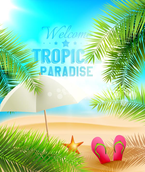 Strand sommar palm blad