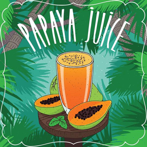 Saft Ripe poster papaya Glas Früchte