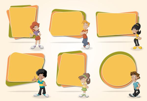 Papier enfants dessin animé bannières
