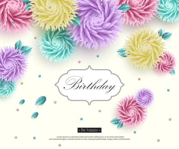 papper kort Födelsedag Blomma