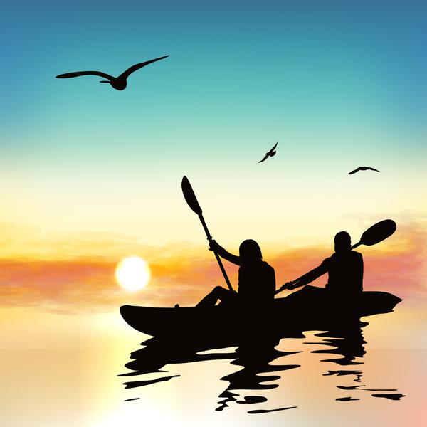 日の出 冒険 人々 シルエット