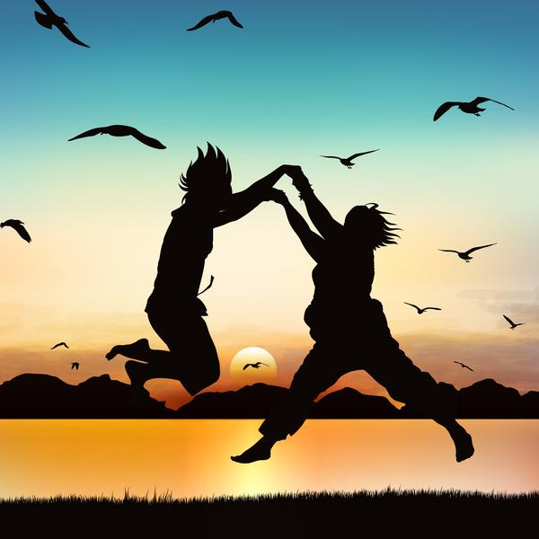 sunrise Springen Menschen Kontur