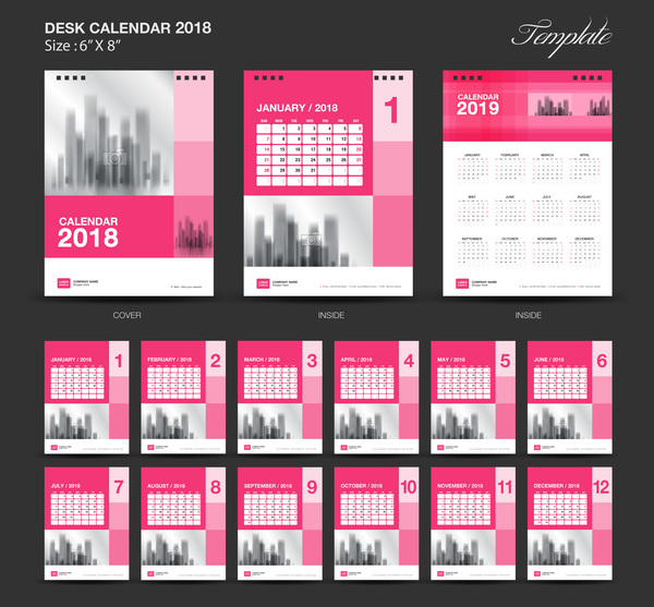 rose desk calendrier 2018