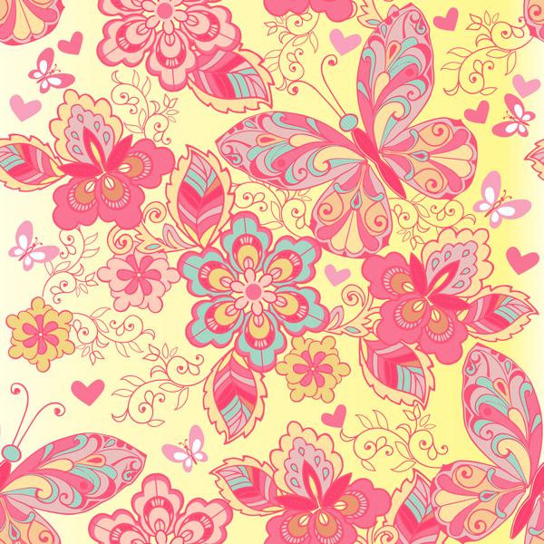 transparente rose Papillons modèle fleurs