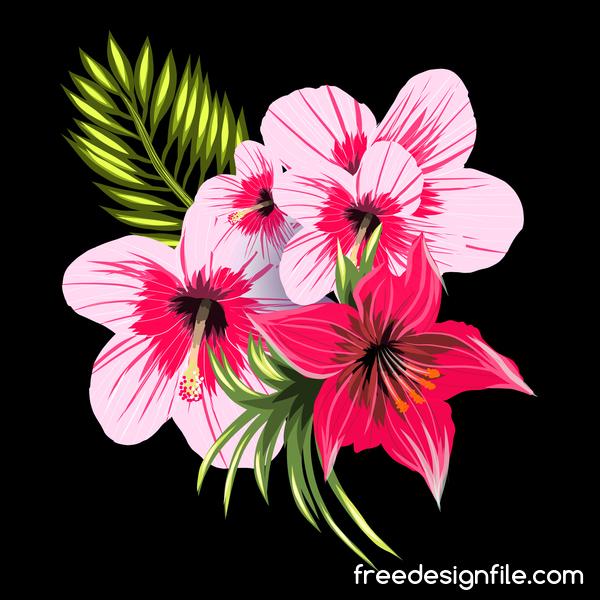 Nero E Rosa Con Fiori Tropicali Rossi Sfondo Vettoriale Welovesolo