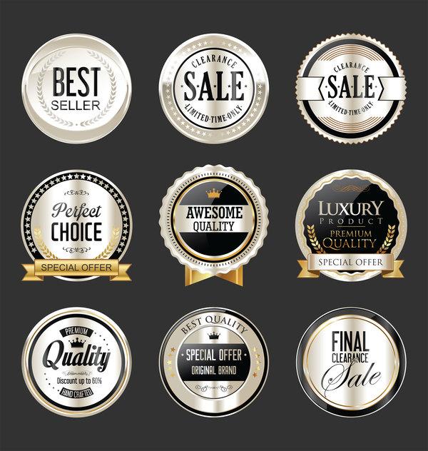 Silber Schwarz Retro-Schrift premium Luxus Etiketten Abzeichen