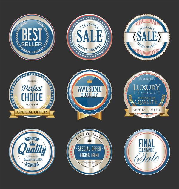 silver Retro teckensnitt premium lyx etiketter emblem blå