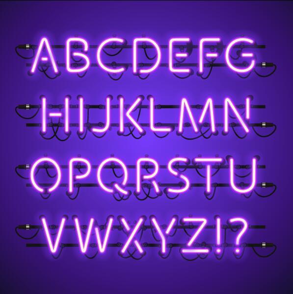 Purpel numero neon Alfabeto