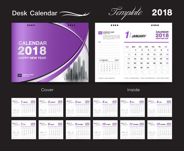 täcka skrivbord Lila Kalender 2018