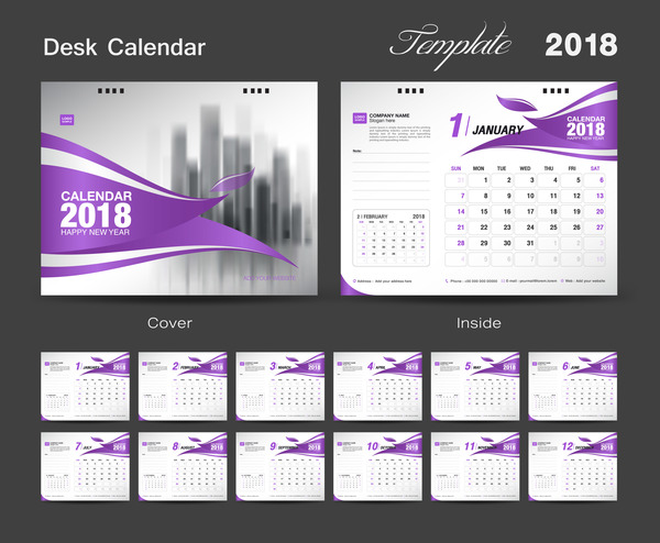purple desk cover calendar 2018