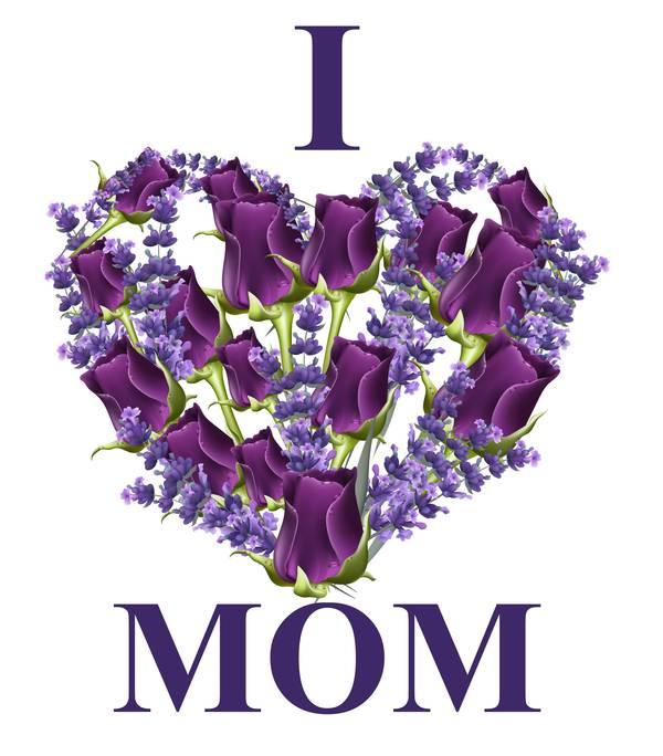 Viola giorno Fiore festa della mamma cuore carta