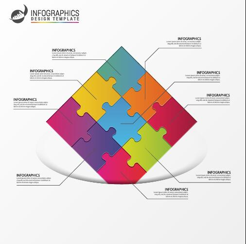 white puzzle infographic