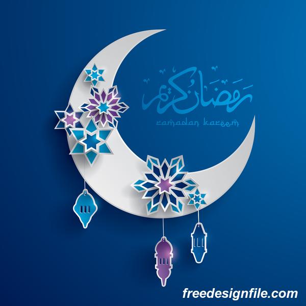 装飾的な 月 星 ラマダン