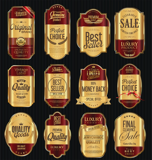 red luxury labels golden