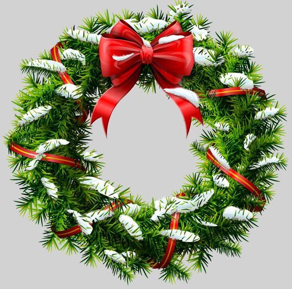 、弓、クリスマス、赤、花輪